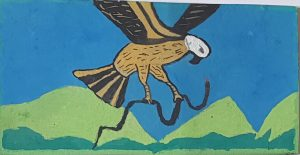 THE EAGLE AND THE SNAKE A snake lies down in the grass to take a nap. An eagle flies in the sky looking for food. He looks down and searches the land. Suddenly it spots the snake. It changes direction and starts to descend. It catches the snake! The snake fights for its life. Poor snake. But that is the circle of life.